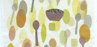 Bowls & Spoons, monotype on cloth (string as a collograph used for the noodles)