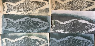 Woodcuts on handmade paper