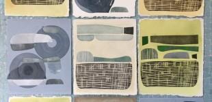 Monotypes of 45s with linoleum forms