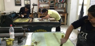 In the lithography studio. Instructor Tania Montes de Oca mixes ink for an edition of lithographs by artist Patricia Cordoba.